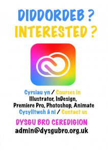 Poster ar gyfer cyrsiau yn Illustrator, indesign, premiere pro, photoshop a animate
