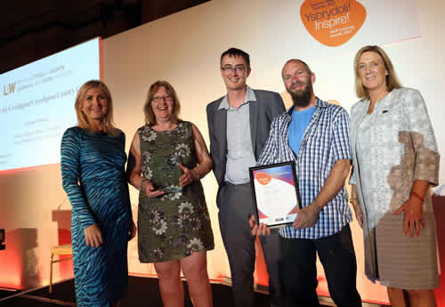 The ceredigion county council team picking up their large employer award