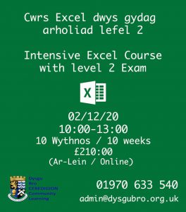 Intensive excel course with level 2 exam poster