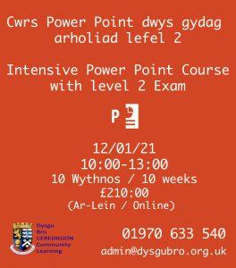 Poster cwrs power point dwys gydag arholiad lefel 2