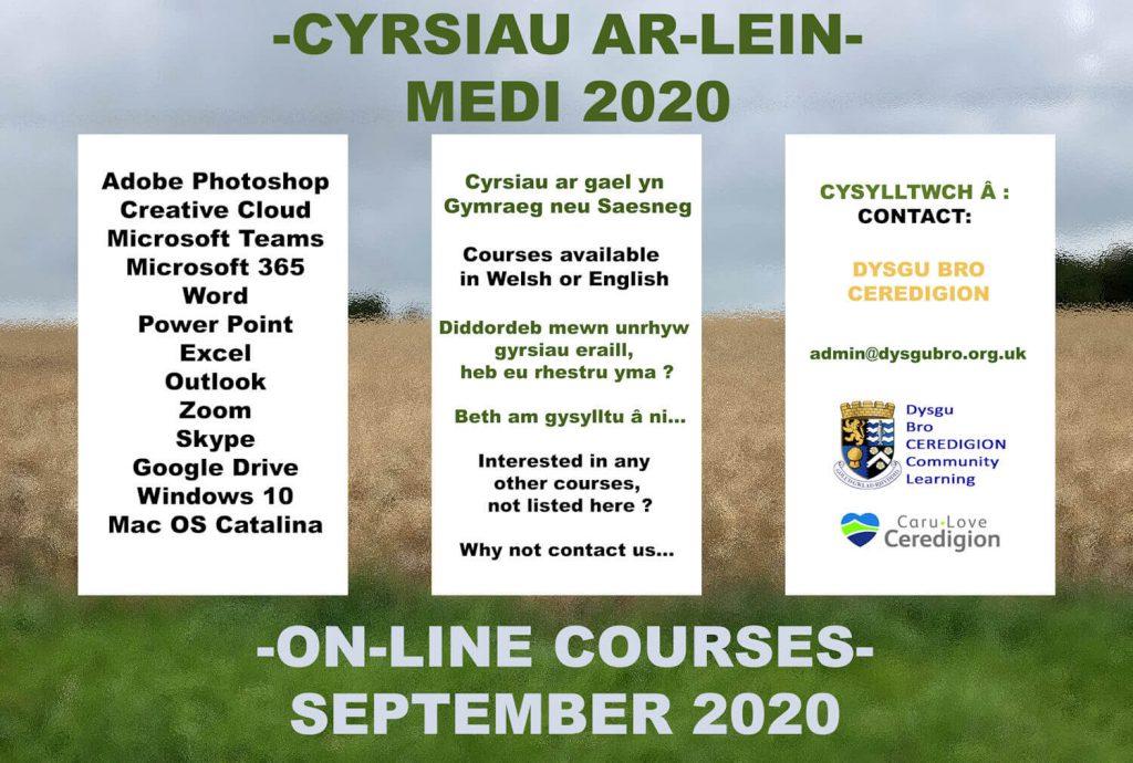 Poster Cyrsiau Ar-lein Medi 2020